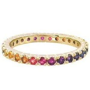 Jewelry - Gold Eternity Rainbow Wedding Band Ring 5 6 7 8 9